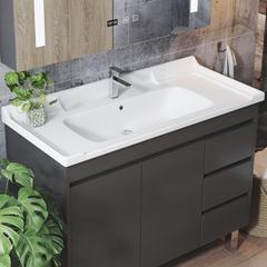 实木黑色洗手盆家用卫生间小户型落地式洗漱台阳台洗脸面盆柜组合 60cm:单独落地柜体
