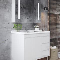落地式实木浴室柜 现代简约卫生间小户型洗漱台 洗脸洗手盆柜组合 60cm:落地柜+镜箱
