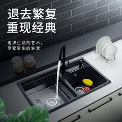 蒙娜万娜石英石厨房黑色水槽加大号双槽洗碗台池花岗岩洗菜盆套餐 72*40【五件套】