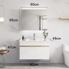 北欧浴室柜现代简约卫浴面盆卫生间洗漱台轻奢洗脸池洗手盆柜组合60cm 白色双门