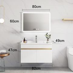 北欧浴室柜现代简约卫浴面盆卫生间洗漱台轻奢洗脸池洗手盆柜组合 80cm 白色双门