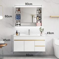 北欧浴室柜现代简约卫浴面盆卫生间洗漱台轻奢洗脸池洗手盆柜组合 90cm 白色两抽双门