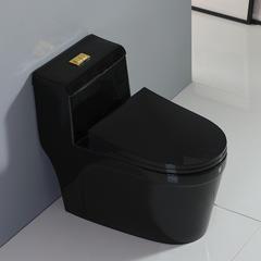 欧罗芬家用彩色马桶德国北欧复古陶瓷抽水黑色虹吸个性创意坐便器 黑色经典 305mm