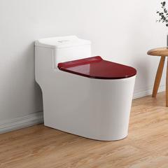 抽水马桶家用卫生间虹吸式坐便器小户型节水防臭坐厕 酒红色盖板 305mm
