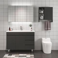 欧罗芬 北欧落地式智能浴室柜卫生间实木轻奢卫浴洗脸洗手洗漱台盆柜组合 60cm双门:带杆璄箱