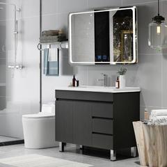 欧罗芬 北欧落地式智能浴室实木卫浴洗脸洗手洗漱台盆柜组合 60cm双门【智能镜子 | 除雾+灯光】