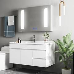 欧罗芬 北欧简约智能浴室柜实木卫生间洗漱台洗面盆洗手盆柜洗脸盆柜组合 白色60cm双门【智能除雾+灯