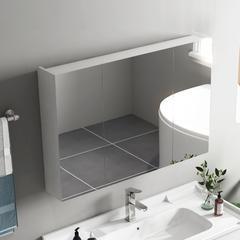 欧罗芬 北欧卫生间浴室镜柜实木挂墙式洗手间收纳储物隐藏式简约镜箱 50*65白色【镜柜】