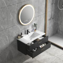欧罗芬  轻奢北欧简约浴室柜组合洗脸盆洗手池卫生间洗漱台 黑色50CM【普通镜子】