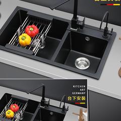 欧罗芬石英石水槽 套餐厨房洗菜盆花岗岩大双槽洗碗池水池 7240A 特惠套餐