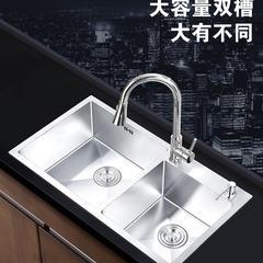 欧罗芬厨房洗菜盆双槽 304不锈钢手工水槽洗碗池洗菜池淘菜盆 72*40【不配送龙头】