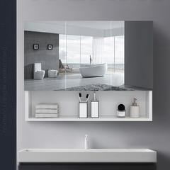 维罗诺太空铝浴室镜柜单独带置物架挂墙式免打孔轻奢加厚储物收纳卫生间 40全封镜柜【加厚】