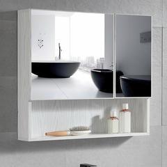 维罗诺太空铝浴室镜柜单独带置物架挂墙式简约收纳储物一体柜卫生间梳妆 40全封镜柜
