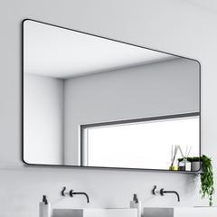 维罗诺轻奢北欧浴室镜子挂墙贴墙卫生间厕所免打孔化妆镜壁挂太空铝自粘 40x50cm 【金框】单方镜