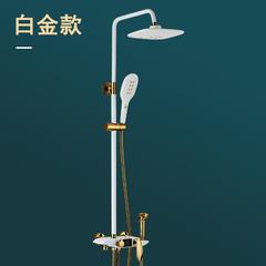 陶尔曼全铜淋雨喷头智能数显卫生间淋浴花洒套装家用带增压喷枪 智能液晶显示【防止烫伤】白色1
