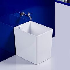 洗拖把池陶瓷拖布池小号拖把盆方形墩布池地拖盆阳台拖把槽 【M8】+龙头配件1