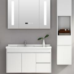 北欧智能浴室柜组合简约现代卫生间实木卫浴洗脸洗手洗漱池台盆柜 808白-60cm【镜箱带毛巾杆】
