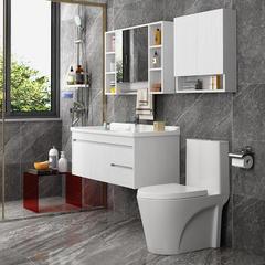 陶尔曼浴室柜组合实木北欧卫生间现代简约洗脸洗手洗漱池台 808黑-60cm【镜箱带毛巾杆】