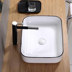 北欧简约创意艺术台上盆洗手盆陶瓷洗脸盆家用卫生间面盆黑色方形 【T-365】智洁釉白套装(龙头颜色备