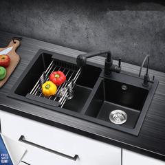中沛斯 石英石水槽双槽 厨房洗菜盆水槽套餐洗碗池水池花岗岩黑色 72_40(A套餐)