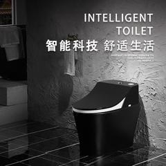 中沛斯普通马桶家用虹吸抽水陶瓷一体智能恒温加热黑色座圈坐便器 黑色标准款+黑盖板 220mm