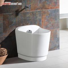 多美吉卫浴陶瓷自动下水拖布池大墩布池拖布盆艺术阳台拖把池 【白色】塑料下水+水龙头