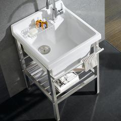 多美吉超深陶瓷洗衣槽阳台洗衣盆水池洗衣池台盆搓衣盆支架水槽 单盆520